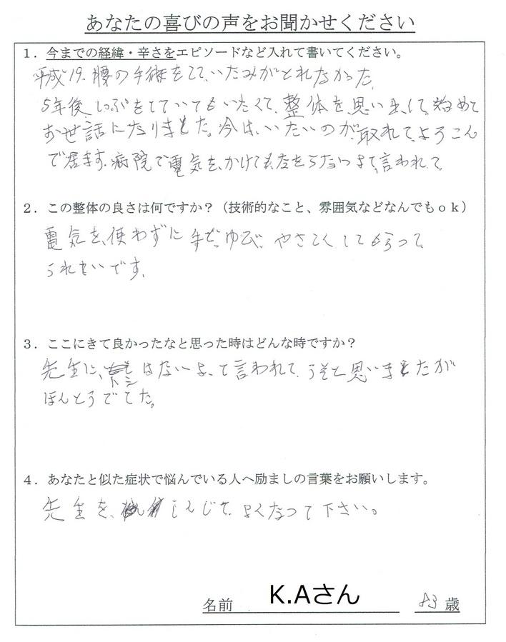 町田 整体 脊柱管狭窄症 症例 20140609_138m